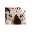 Casual Warm Cute Cartoon Deer Printed Knit Gloves