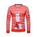 Christmas Series Cartoon Animal Printed Long Sleeve Round Neck Red Tee