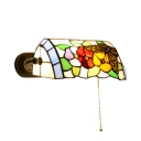 Multicolored Banker Design Wall Sconce Tiffany Style Stained Glass Wall Lamp for Study Room