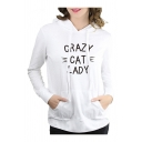 Cute Long Sleeve Letter CRAZY CAT LADY Printed Loose Hoodie