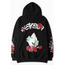 Unisex Long Sleeve Casual Letter Hand Rose Floral Printed Oversize Black Hoodie