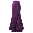 New Trendy Chic Floral Printed Fashion Lace-Up Side Layered Ruffle Hem Maxi Retro Fishtail Skirt