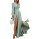New Fashion Boho Style Long Sleeve Plunge V Neck Plain Tie Waist Split Front Maxi Dress