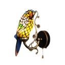 Parrot Wall Lamp Lodge Tiffany Style Stained Glass Pull Chain Wall Sconce in Yellow/Orange