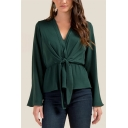 Women's Solid V-Neck Bell Sleeve Tied Waist Ruffle Hem Blouse