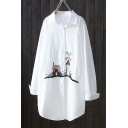 New Arrival Long Sleeve Lapel Collar Embroidered White Button Down Tunics Shirt