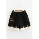 Warm Wide Leg Fleece Patched Letter LITTER LAMB Printed High Elastic Waist Woolen Shorts
