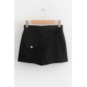 New Arrival Plain Elastic High Waist Fake Pocket Woolen Skort Shorts