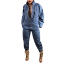 Stand Collar Long Sleeve Button Front Cool Blue Denim Jumpsuits