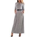 Elegant Long Sleeve Round Neck Button Front Plain Maxi A-Line Dress with Belt