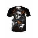 Butterfly Character Pattern Short Sleeve Round Neck Black Leisure T-Shirt