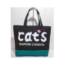 Chic Stylish Letter CATS Printed Canvas Handbag Shoulder Bag