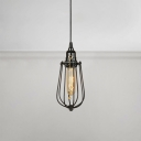 Caged Pendant Light Retro Style Iron Cord Suspended Lamp with Pull Chain for Coffee Shop