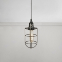 Height Adjustable Caged Pendant Light Industrial Simple Iron Drop Light with Pull Chain