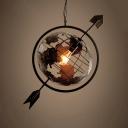 Vintage Industrial Tellurion Hanging Light Steel Single Light Pendant Lamp in Black