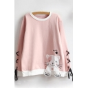 Lace Up Detail Long Sleeve Round Neck Cartoon Cat Embroidered Sweatshirt
