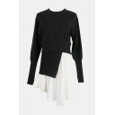 Designer's Unique Round Neck Long Sleeve Irregular Patchwork Mini Black Sweater Dress