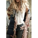 Chic Color Block Striped Print Tassel Hem Long Sleeve Open Front Cozy Relaxed Cardigan