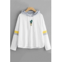 White Long Sleeve Colorblock Pattern Embroidered Leisure Loose Hoodie