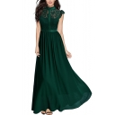 Stand Collar Lace Patched Cap Sleeve Plain Maxi A-Line Hollow Out Party Dress