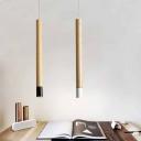 Wood Grain Tube Hanging Lights Nordic Design Wooden Single Mini Track Pendant Light for Cafe Restaurant