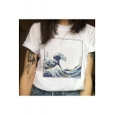 White Crewneck Short Sleeve Wave Fresco Pattern White Casual T-Shirt