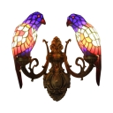 Stained Glass Parrot Wall Light Tiffany Style 2 Heads Accent Sconce Lighting in Navy Blue