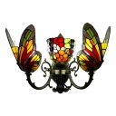 Triple Head Butterfly Sconce Lighting Tiffany Style Stained Glass Wall Light in Multi Color