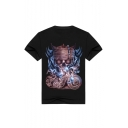 Stylish 3D Short Sleeve Round Neck Skull Pattern Cotton Black Relaxed Tee