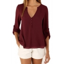 Women's Burgundy Solid V-Neck Cuffed Sleeve Button Placket Pullover Blouse