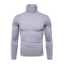 Gray Cotton High Neck Long Sleeve Slim Fit Plain Sweater