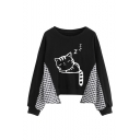 Cartoon Cat Plaid Patched Long Sleeve Round Neck Black Sweatshirt