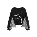 Cartoon Cat Plaid Patched Long Sleeve Round Neck Black Sweatshirt