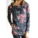 Unique Dark Gray Cotton Blends Floral Print Long Sleeves Pullover Hoodie with Pocket