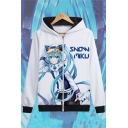 Unisex Long Sleeve Cartoon Character Letter Printed Chic Zip Placket White Hoodie