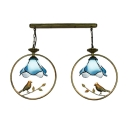 2 Lights Petal Hanging Light Tiffany Style Vintage Blue Glass Pendant Light for Coffee Shop