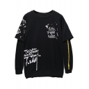 Popular Black Graphic Printed Round Neck Long Sleeves Pullover Layered Sweatshirt