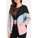 Pink Colorblock Long Sleeve Zip Closure Leisure Hooded Coat