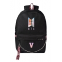 Fancy Black BTS Portrait Print Chain Design Zipped Backpack Bag