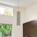 Cement Cylinder LED Track Light Nordic Style 1-LED Pendant Lighting in Gray for Kitchen Island