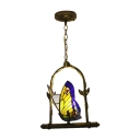 Navy Blue Butterfly Hanging Light Tiffany Style Stained Glass Single Bulb Pendant Light