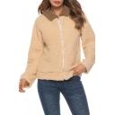 Trendy Contrast Lapel Collar Long Sleeve Zip Up Warm Fluffy Fleece Camel Coat
