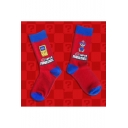 Cute Super Mario Letter Printed Cotton Calf High Unisex Red Socks