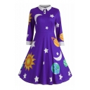 Moon Star Printed 3/4 Length Sleeve Lapel Collar Leisure Christmas Series Midi A-Line Dress