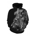 3D Animal Lion Pattern Long Sleeve Cool Black Unisex Hoodie