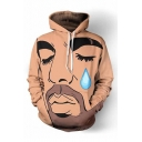 3D Figure Portrait Teardrop Printed Long Sleeve Khaki Casual Hoodie