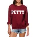 Hot Fashion Long Sleeve Round Neck Letter PETTY Pattern Sweatshirt for Girls