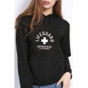 Letter LIFEGUARD Cross Pattern Long Sleeve Sports Cozy Cotton Fitted Hoodie