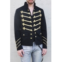 Men's Vintage Stand Collar Long Sleeve Chic Embellished Double Breasted Black Jacket