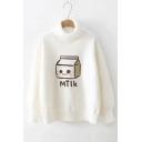 White Cartoon Milk Bottle Pattern Turtleneck Long Sleeve Pullover Sweater